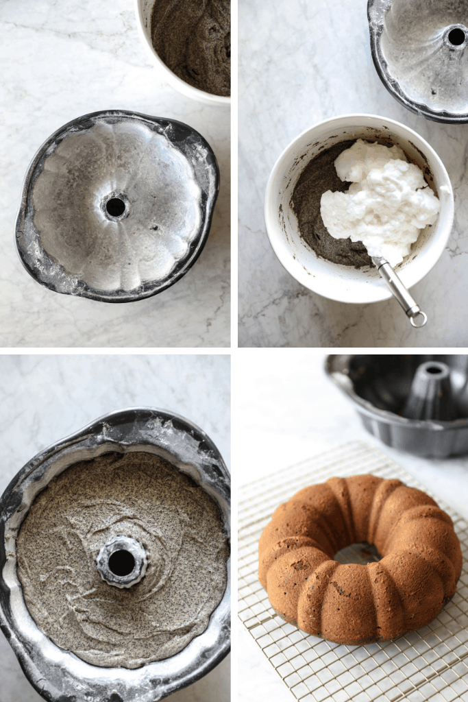 Poppy seed bundt cake batter and finished cake