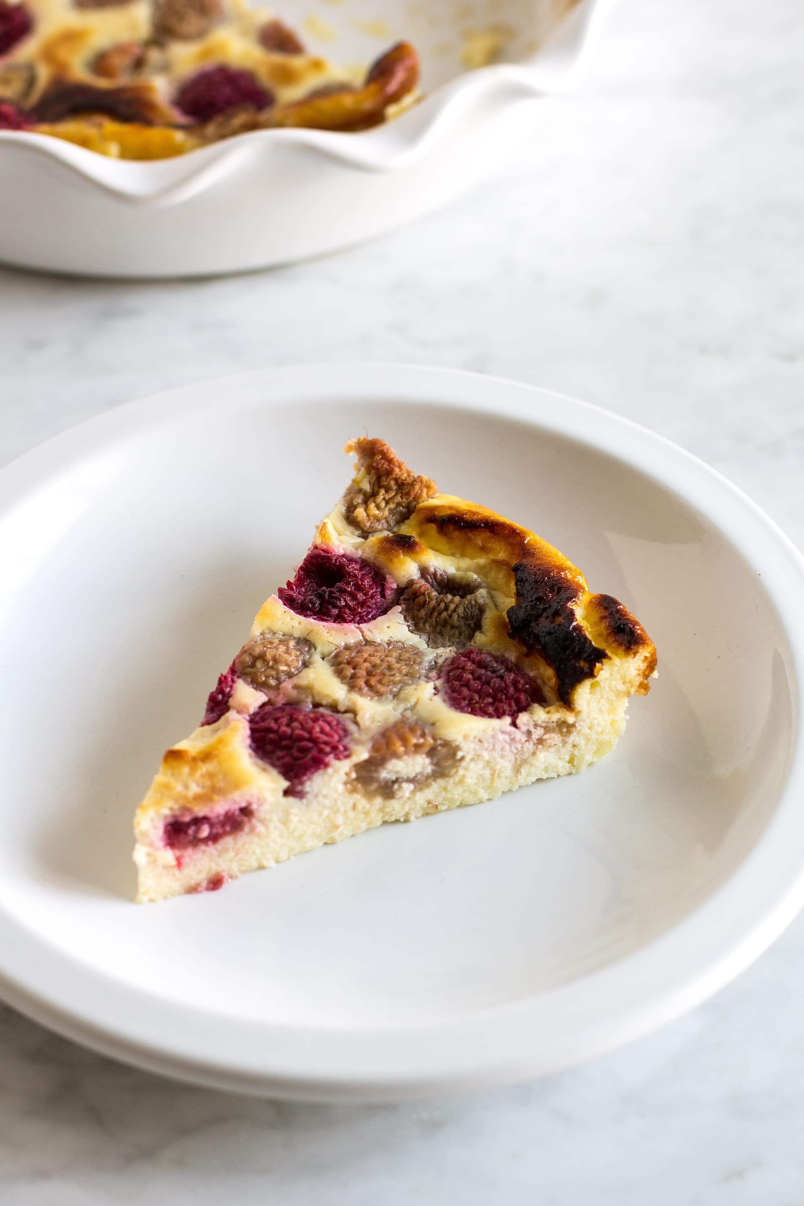 slice of raspberry ricotta soufflé