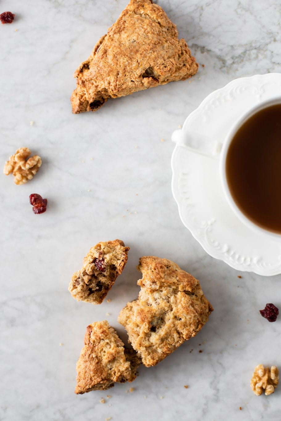 cranberry walnut scones served with coffee