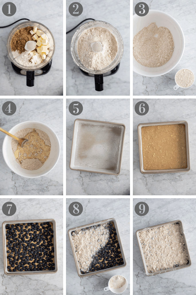 Step by step of making blueberry crumb cake.