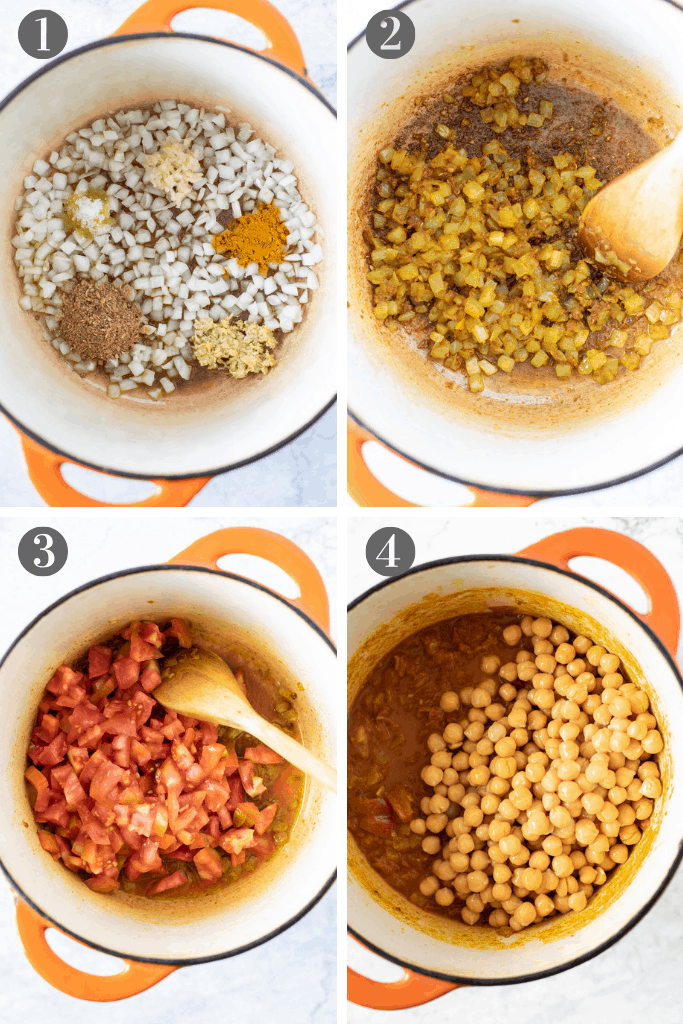 Four steps to make chickpea tomato curry: 1. saute onion, ginger, garlic, turmeric, coriander and salt in olive oil.2. saute for 6 minutes until soft 3. add diced fresh tomatoes 4. add cooked chickpeas and stock, and cook for 20 minutes