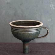Hand-Thrown Blue-Green Ceramic Funnel