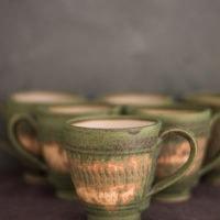 Hand-thrown splattered ceramic cup