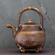 hand-thrown ceramic round tea pot