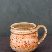 Small textured sienna white mug