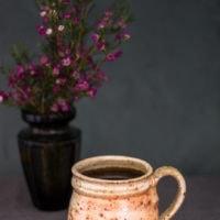 Small textured sienna white mug