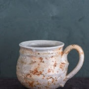 Hand-Thrown Large Textured Mug in white and burnt orange