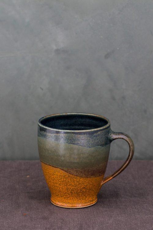 Rust/sage/indigo hand-thrown ceramic cup