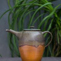 Hand-thrown ceramic wave tea pot