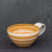 Hand-Thrown Ceramic Striped Latte Cup (Orange)