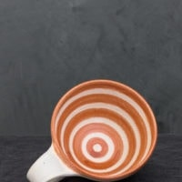 Hand-Thrown Ceramic Red Striped Latte Cup