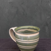hand-thrown striped tall mug green