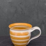 Hand-Thrown Striped Tall Mug (Orange)