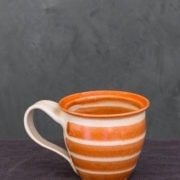 Hand-Thrown Striped Tall Mug (Red)