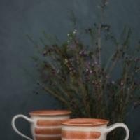 Hand-Thrown Striped Tall Mug (Red)