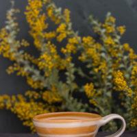 Hand-Thrown Ceramic Striped Latte Cup (Orange)