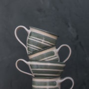 Hand-thrown ceramic striped latte cup (green)