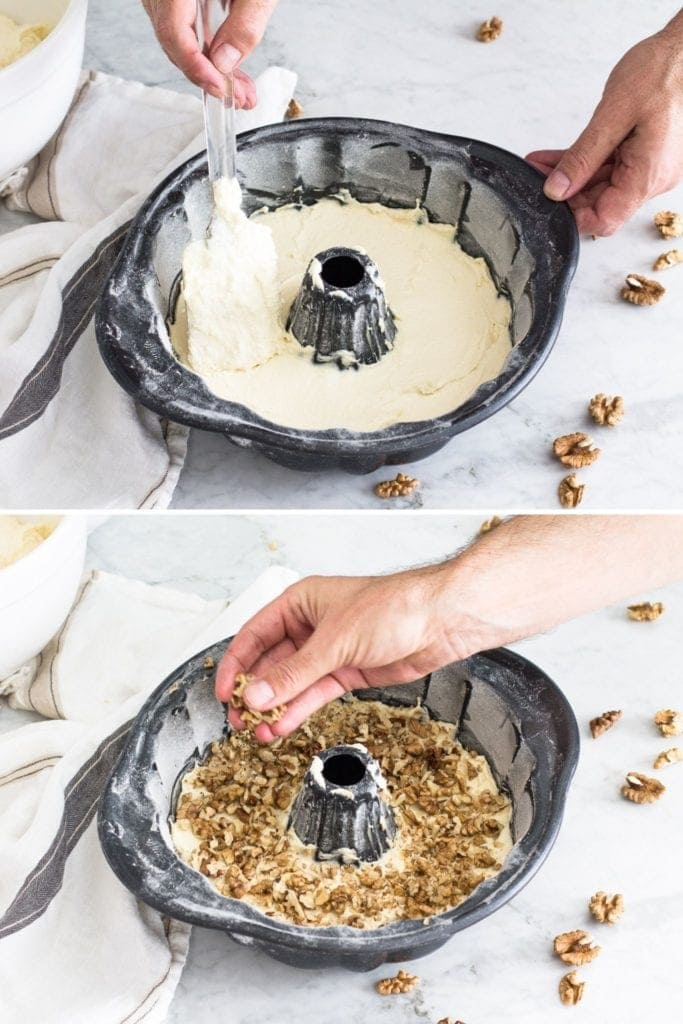 spreading batter in bundt cake form and sprinkling walnuts over the batter to create a middle layer