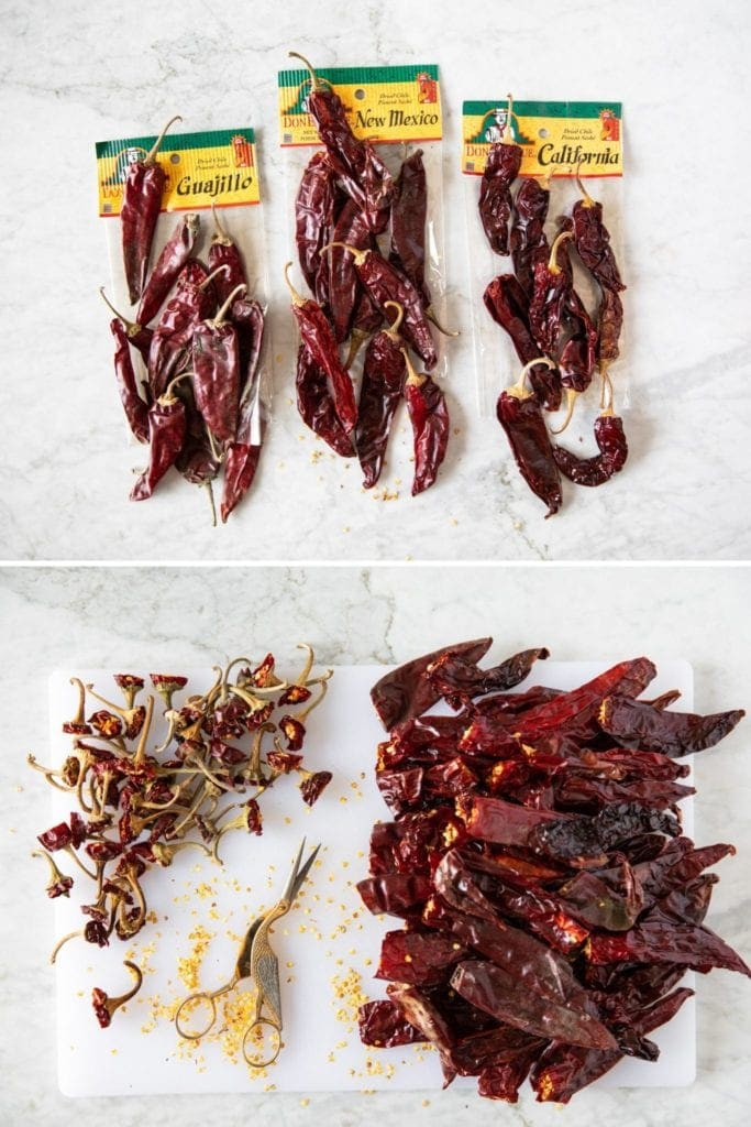 top photo shows three kind of red chilies; bottom photo shows stemmed chilies