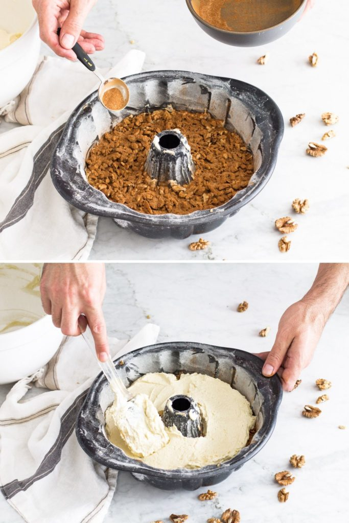 layering walnuts with sugar and cinnamon over bundt cake batter