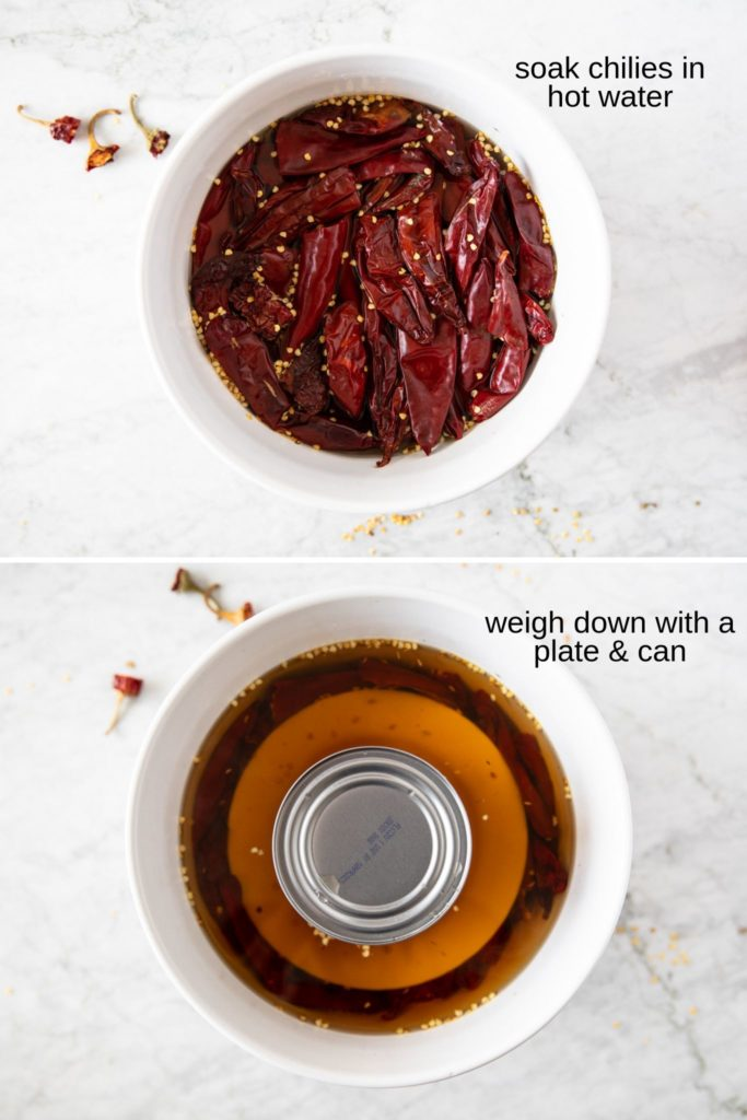 top photo shows a bowl with soaking red chilies; bottom photo shows chilies weighed down with a plate and acan