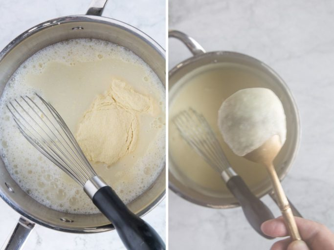 making cream of semolina by adding semolina flour to hot milk and stirring