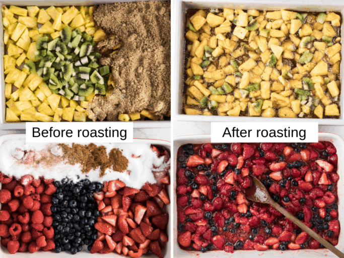 two side-by-side photos showing roasted fruit tea. fresh fruit before roasting and reduced fruit after roasting