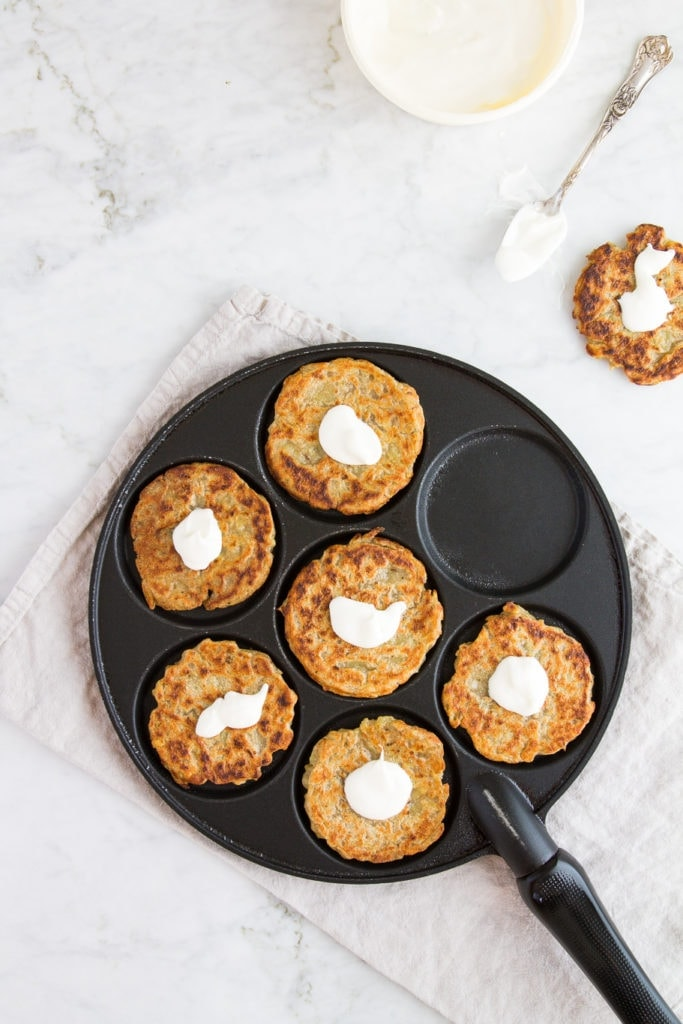 czech potato pancakes with sour cream