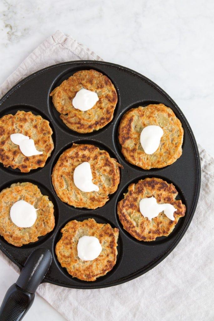 potato latkes with sour cream