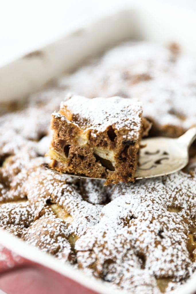 slice of rocky road apple chocolate coffee cake