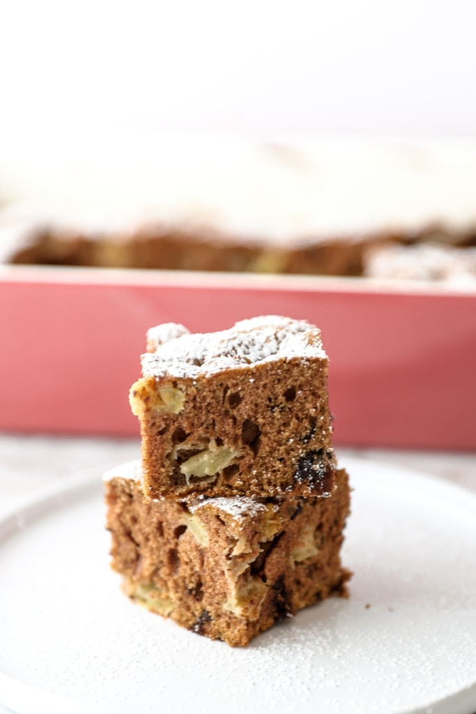 slices of rocky road apple chocolate coffee cake