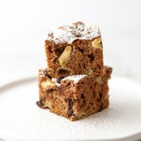 two slices of rocky road apple chocolate coffee cake