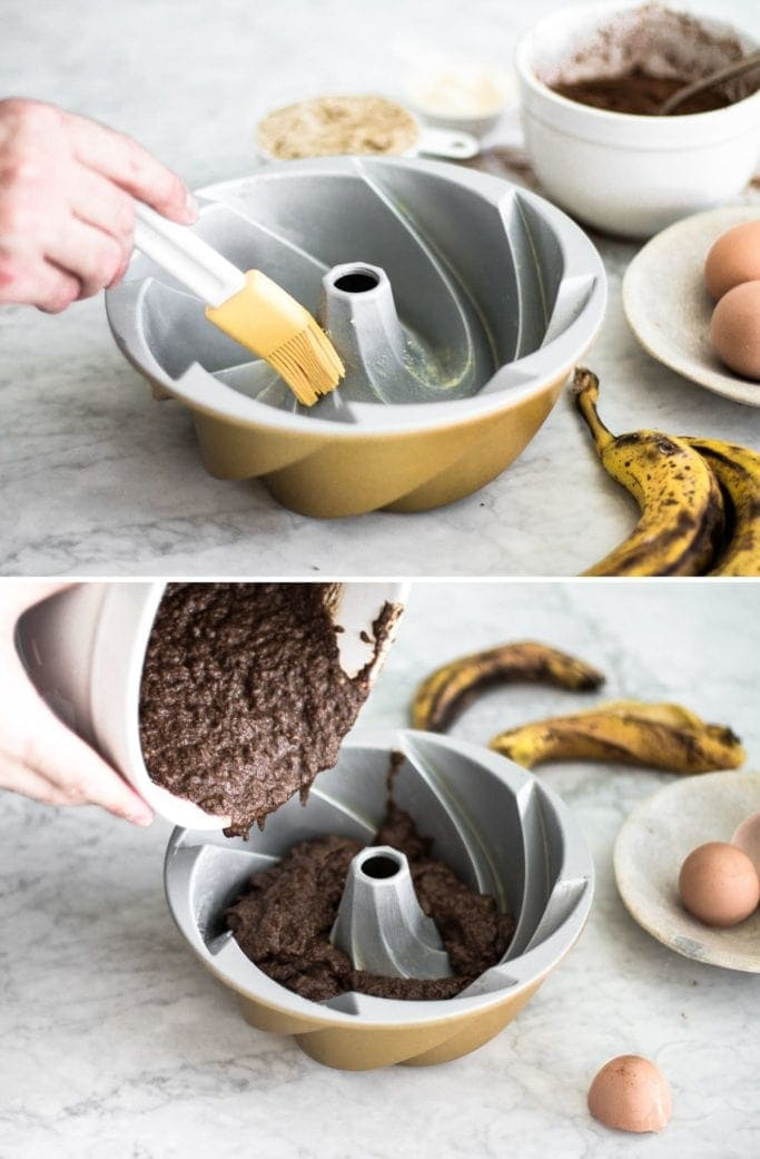 brushing a bundt cake pan with butter and pouring chocolate banana batter into it