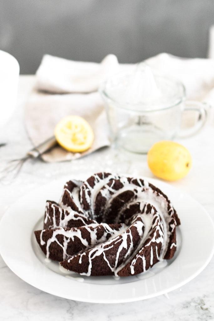 chocolate banana paleo cake with lemon glaze