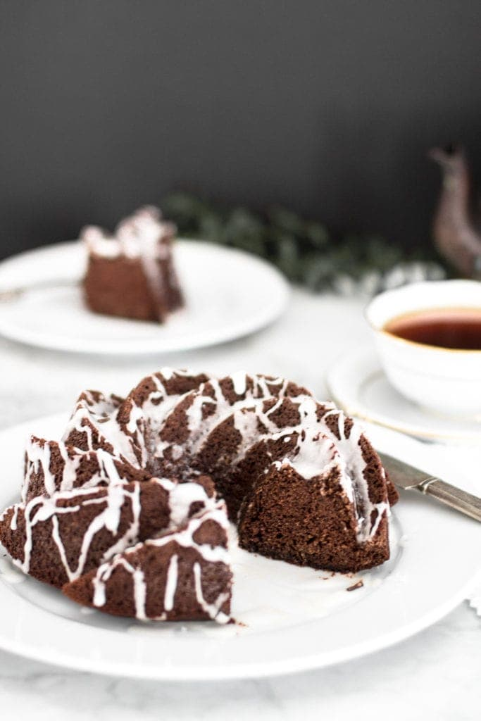 chocolate banana paleo cake with lemon glaze