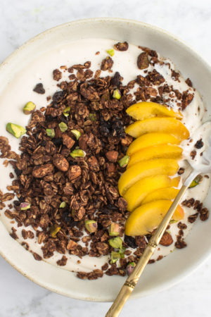 Chocolate Granola With Pistachios, Almomonds and Dried currants
