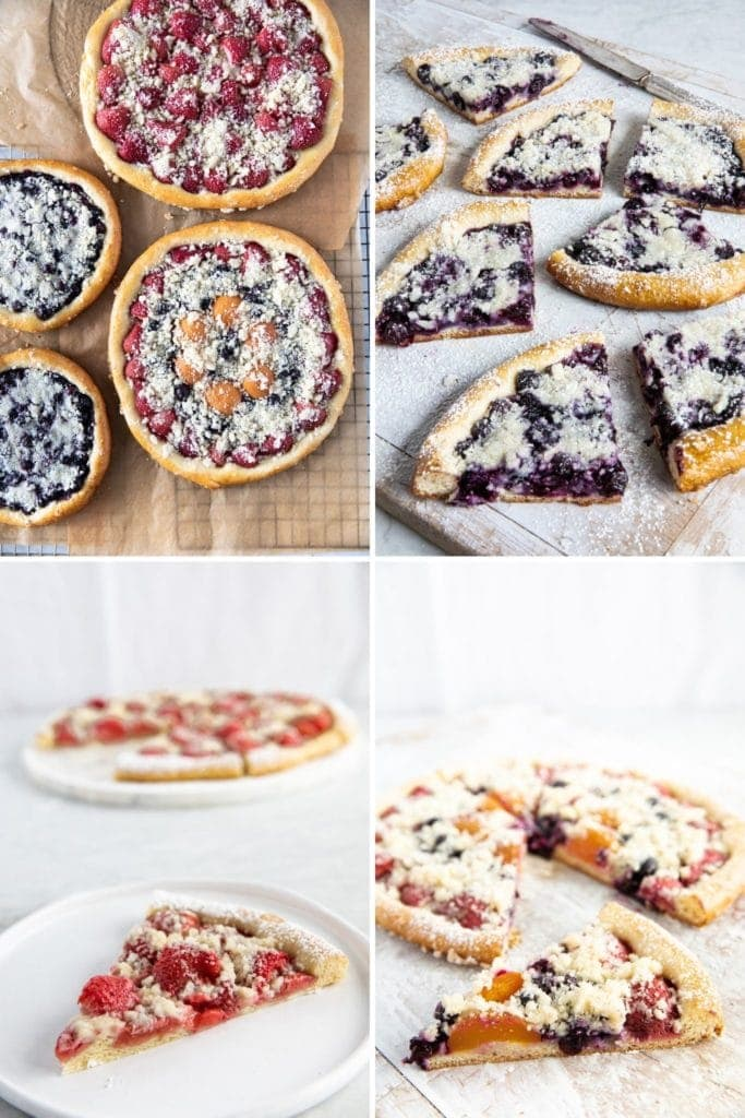 four photos of slices of fruit kolache