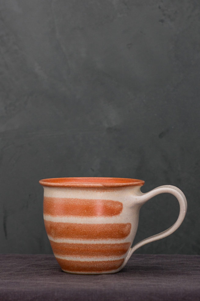 ceramic mug with red stripes