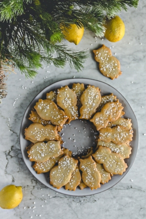 plate of lemon linzer cookies with pearl sugar from verygoodcook.com