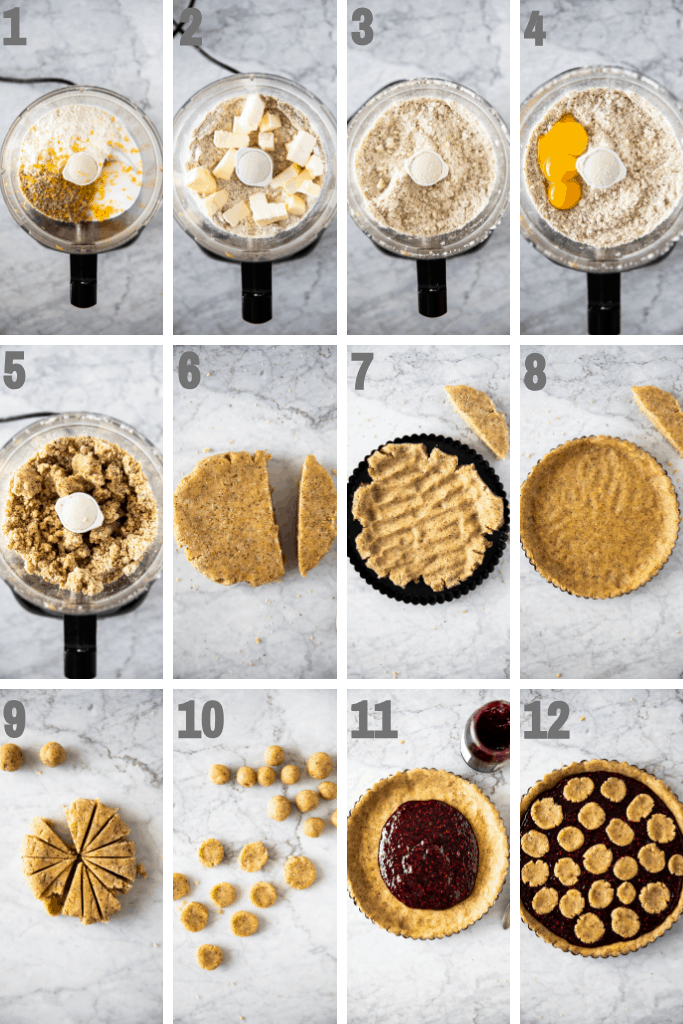 twelve steps to make linzer torte with raspberry jam.