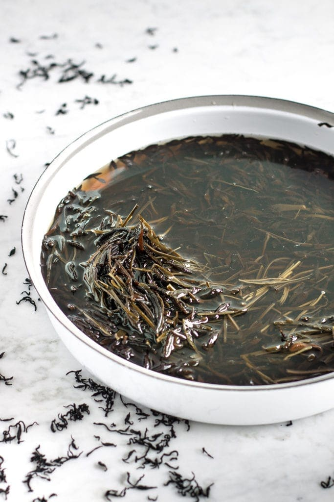 rehydrating dry arame and hiijiki sea vegetables