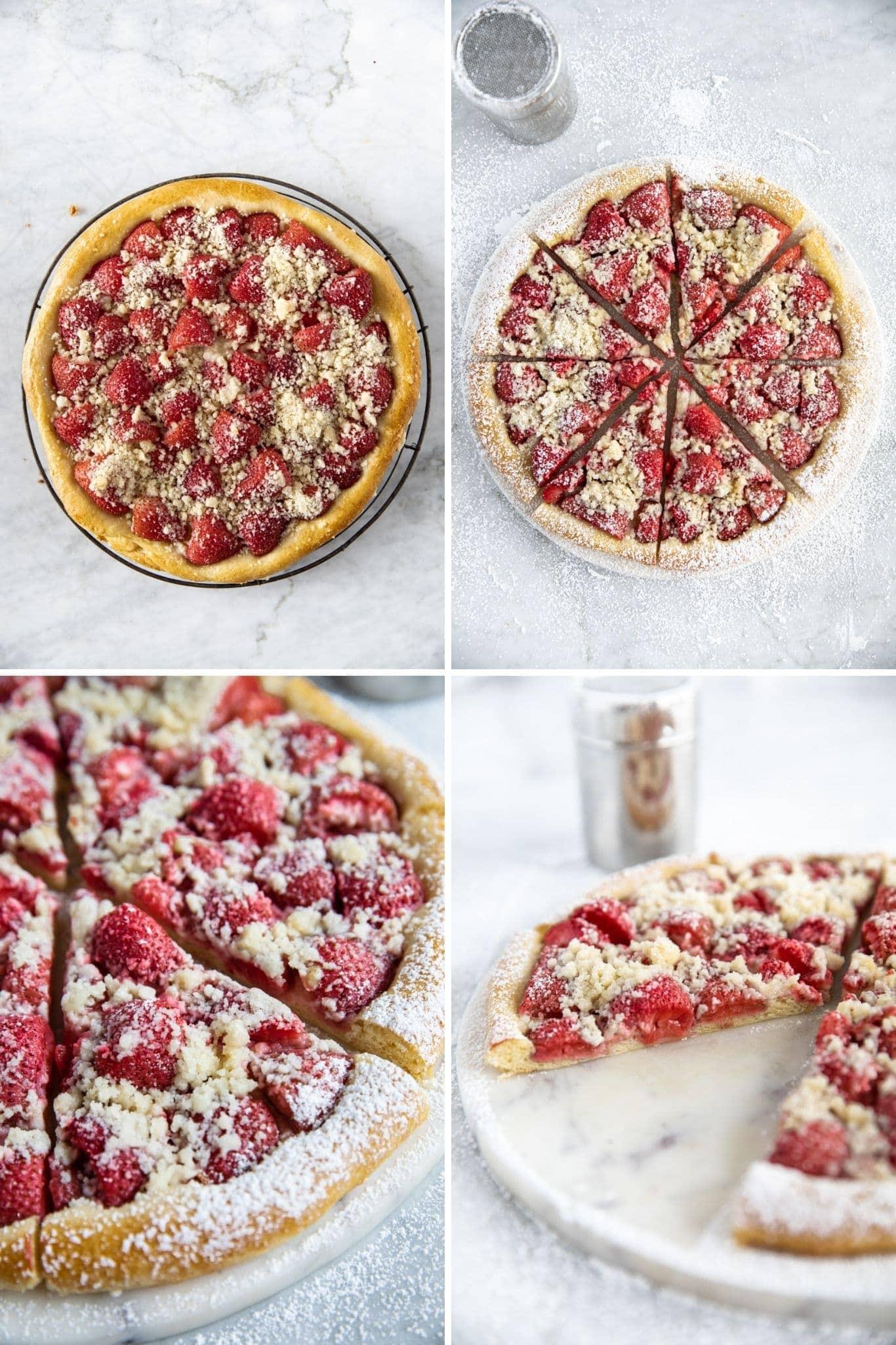 four photos of strawberry kolache