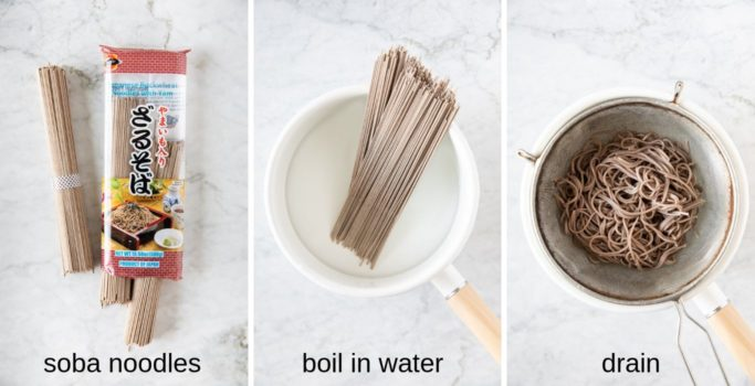 dry soba noodles in a packet; soba noodles getting boiled in a small saucepan, drained soba noodles in a sieve