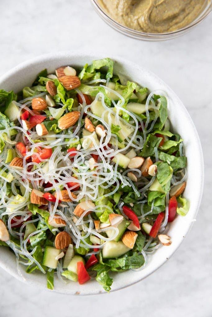 Kelp noodle salad with almond-tahini dressing