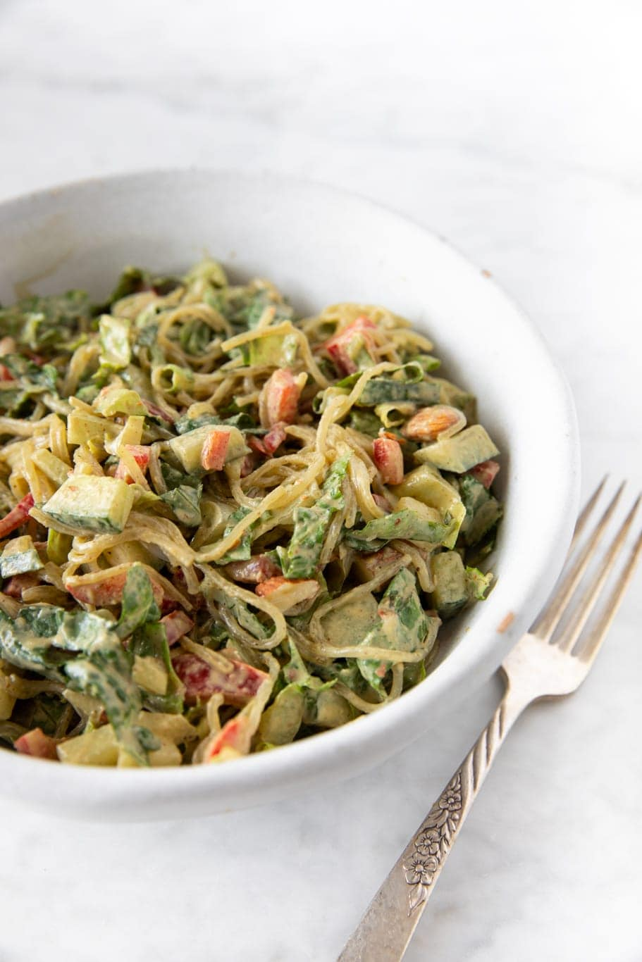 Kelp noodle salad with almond-tahini dressing