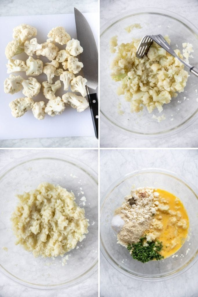 photos of cooked mashed cauliflower in a bowl