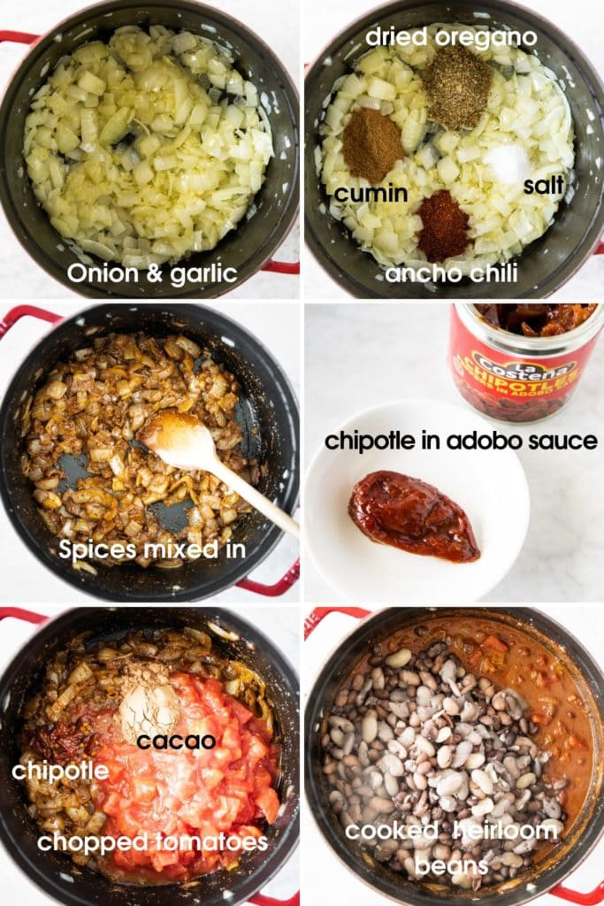 Steps showing how to make vegan heirloom-bean chili, using onion, garlic, spices, tomatoes, cacao, and heirloom beans