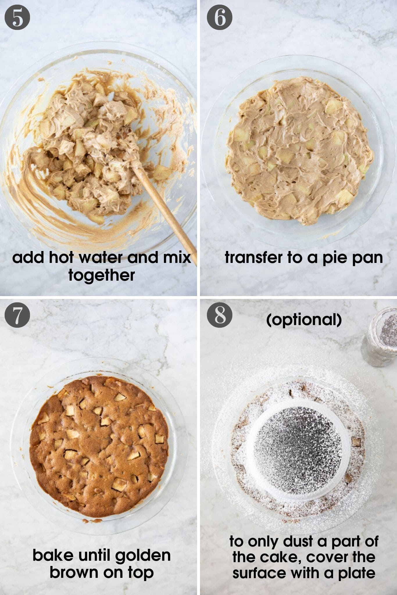 four photos showing apple walnut pie batter being mixed in a bowl, added to a pie pan, baked finished cake and dusting with powdered sugar