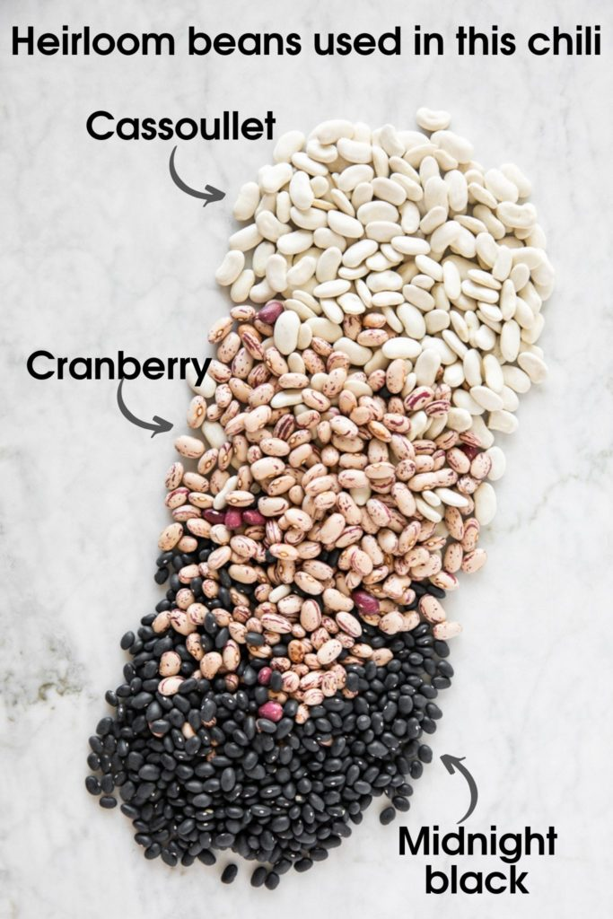 Three kinds of heirloom beans: cassoullet, cranberry, midnight black