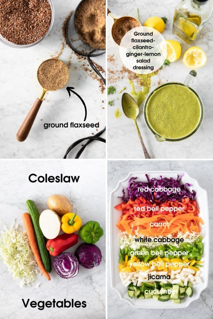 Photo grid showing ground flaxseed, salad dressing made with ground flaxseed, vegetables for coleslaw, chopped vegetables on a platter ready to be used in coleslaw